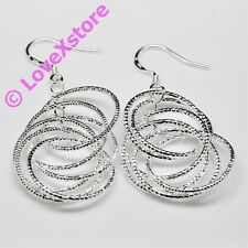 925 Sterling Silver Plated Ring-Linking Earring Dangle Earrings Free Shipping e