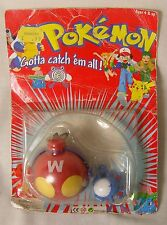 Vintage 1998 Pokeball Pokemon Carrier with neck cord and Marill Figure