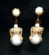 SIGNED MIRIAM HASKELL EARRINGS White Beads Russian Gold Filigree Dangle Setting