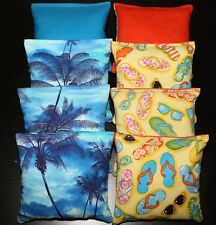 TROPICAL Island Paradise Cornhole Bean Bags Aqua Blue Palm Trees & Beach Sandals