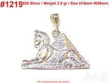 #1219 Pyramid Egypt Sphinx Charm Sterling Silver Jewelry Pendant Egyptian