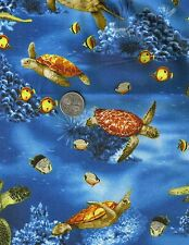 Swimming Sea Turtles on Blue Ocean Fish Novelty Quilt Fabric FQ FQs