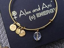 NEW RARE ALEX and ANI Crystal OONA Drop Charm BEADED BANGLE Gold BRACELET 💎