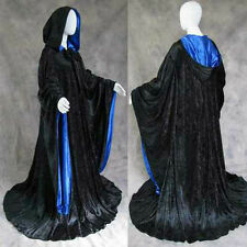 Velvet Robe Black Blue Wizard Cloak LARP Cosplay LOTR Game of Thrones GoT Gothic