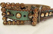 BB SIMON COPPER/TURQUOISE  LEATHER DOG COLLAR LT. COL  SWAROVSKI STONES XX-LARGE