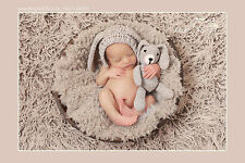 newborn hat photo prop -bonnet bunny  hat with matching bunny toy grey