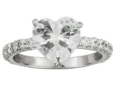 Bella Luce (R) 5.02ctw Rhodium Plated Sterling Silver Heart Ring