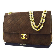 Auth CHANEL CC Logos Double Flap Quilted Chain Shoulder Bag Suede Leather 90S877