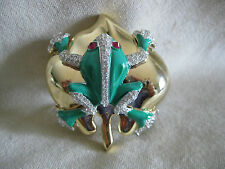 CLIVE KANDEL Magnificient Costume Jewelry Green Frog Gold Lily Pad Brooch Pin
