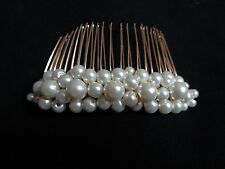 Ivory glass pearl hair comb bridal brides bridesmaid prom wedding fascinator