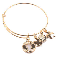 GOLD TONE  METAL BANGLE WITH CROSS & OTHER CHARMS BRACELET