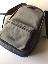Fossil Men's Grey Canvas Navy Leather Estate Campus Backpack MBG9248020 NWT