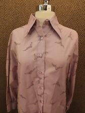 Hipster NOS Vtg 60s Purple Eagle Falcon Birds Button Down Casual Shirt 12 NEW