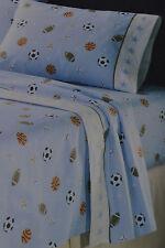 Flannel Queen Sheet Set~Sports Game~Football~Basketball~Soccer Ball~Baseball~NEW