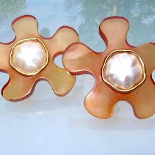 CHANEL VINTAGE 80's Clip on EARRINGS Gripoix / Orange Good Condition