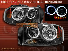 97-04 DODGE DAKOTA DURANGO HEADLIGHTS CCFL BLACK 00 01