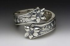 SILVER SPOON LILA SPOON RING SILVERWARE PATTERN FLORAL SILVER PLATED