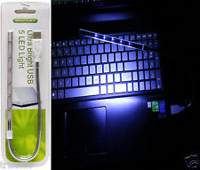 New Flexible USB 5 LED Ultra Bright White Light for PC Laptop Keyboard Reading