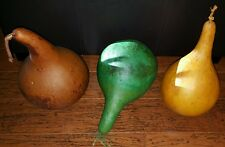 Lot of 3 Halloween Fall Decorations Giant Gourd Pumpkins Decorative Vintage