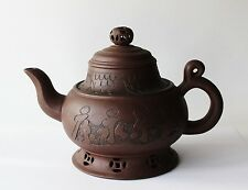 Chinese Pottery Yixing Clay Collectible Tea Pot with Lid Boy on Fish Signed