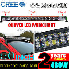 "50INCH 480W CREE CURVED LED LIGHT BAR SPOT FLOOD OFFROAD 4WD TRUCK ATV 52"" 500W"