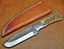 "10"" Custom Bowie Damascus Big Game Tracker Knife W/ Ram Horn Da11"
