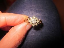 VINTAGE 1984 9ct Yellow Gold DIAMOND CLUSTER Ring - Size P/Q