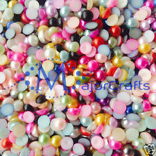 150pcs 10mm Mixed Colours Flat Back Half Round Resin Pearls Nail Art Craft Gems