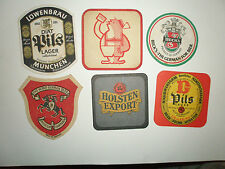 SIX MATS FROM THE 1970'S - 80S HOLSTEN BECK'S LOWENBRAU BARCLAY'S