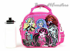 Monster High Shoulder Strap Insulated Hot Pink Lunch Bag w Water Bottle