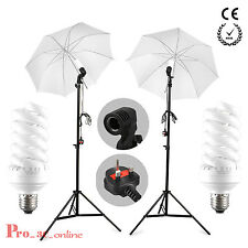Studio Photography bulb Lamp Umbrella Light Stand Set Continuous Lighting Kit