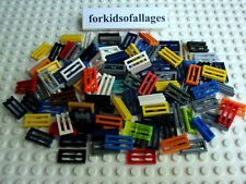100 Lego 1 x 2 Grills Bulk Grille Tiles Lot Mixed Colors Red White Blue Black+