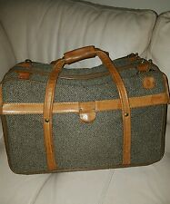 Hartmann Tweed Belting Leather Luggage Three 3 Compartment Carry On Bag Suitcase