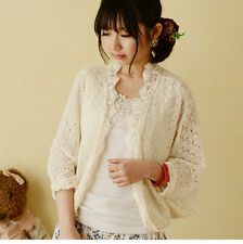 Brand New Japanese Style Hollow Lace Batwing Sleeve Cardigan Shirt Blouse Top XS