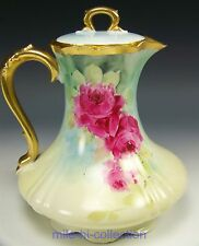 LIMOGES FRANCE HAND PAINTED ROSES CHOCOLATE POT