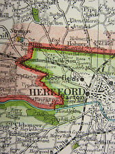 1920 el condado de mapa de Herefordshire Leominster Ross Kington Pembridge ferrocarriles Etc