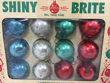 Vintage Shiny Brite Christmas Ornaments Glass Mini Tinsel Feather Tree