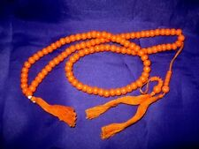 MAL01 Mala Meditation Beads + FREE Bag/Pouch: Polished Wood Orange