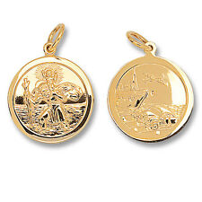 Solid 9 Carat Yellow Gold St Christopher Pendant 22mm Double Sided