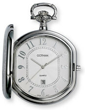 Gotham Men's Silver-Tone Swiss Quartz Date Movement Pocket Watch # GWC14044S
