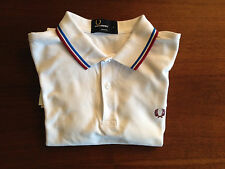 Fred Perry White Slim Fit Short Sleeve Polo Shirt - Small