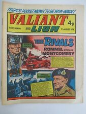 VALIANT & LION Aug 17, 1974 with General Rommel vs General Montgomery WWII Cover