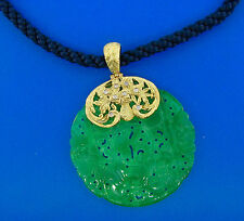 18k Yellow Gold and Diamond Topped Carved Jade Pendant on Rope & Gold Necklace