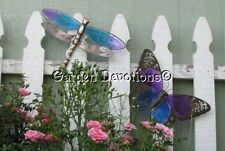 "HUGE 16"" BUTTERFLY -or- DRAGONFLY GARDEN WALL ART Copper & Glass Decor"