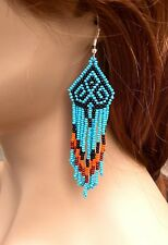 BLUE BLACK SEED BEADED HANDMADE CHANDELIER EARRINGS E54/16
