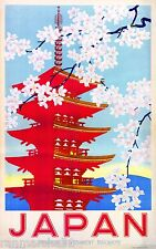 Japan Japanese Railways Vintage Asia Asian Travel Advertisement Art Poster