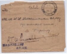 Malaya cover - 1924 OGS cover MAGISTRATE no stamps FMS Parit Buntar