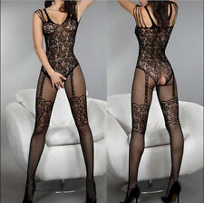 Sexy Open Crotch Stockings Women Crotchless Fishnet Sheer Body Dress Lingerie