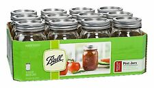 Pint Jars Set 12 Pack 16 oz with Lids and Bands Ball Mason Regular Mouth Kitchen