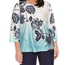 Alfred Dunner shirt size 3X  Teal Green, Navy Blue paisley floral print